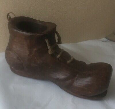 Vintage Hand Carved Primative Wooden Boot  Paper Weight Coin Holder