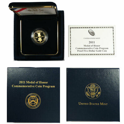 2011-W Proof $5 Gold Medal of Honor Commemorative Coin Box, OGP & COA