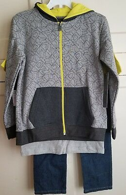 DKNY Toddler Boys Size 6 Jeans Sweater and TShirt Grey Black Yellow Outfit Set