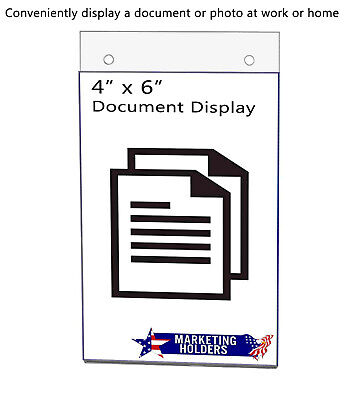 """Sign Holder Ad Frame 4""""W x 6""""H Small Wall Mount With Holes"""