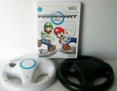 Mario Kart Wii With 2 Wii Wheels (Nintendo Wii) Game Bundle Lot Official Racing
