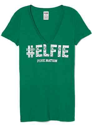 NEW Victoria Secret PINK Nation Hashtag # Elfie Green Snowflake Tee Tshirt Top L