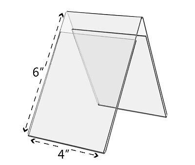 "A Frame Sign Holder 4""W x 6""H Double sided Table Tent Clear Acrylic Qty 24"