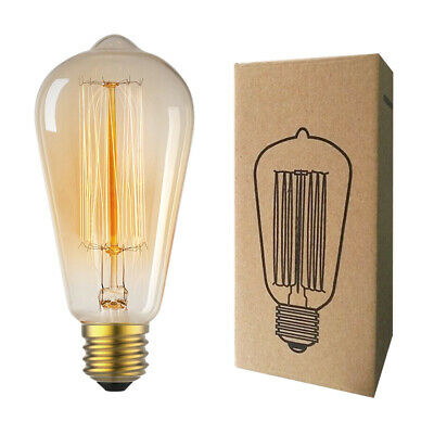 Edison Bulb E26 Retro Lamp ST64 Vintage 40W 60W Filament Incandescent Light 110V
