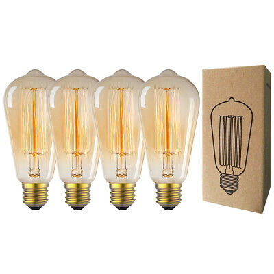 4-Pack Vintage Edison Light Bulb 60W / 40W Filament Incandescent Retro Lamp E26