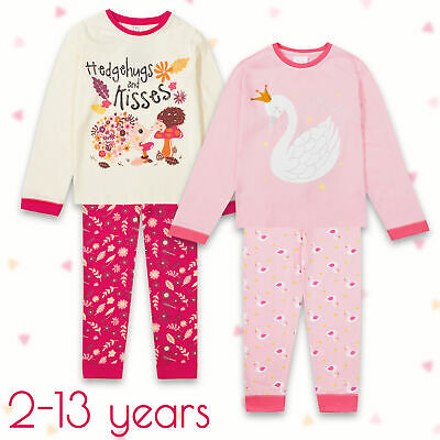 Childrens Girls Pyjama Set Pink Swan Cotton Warm 2 Piece 2-13 Years Gift Glitter