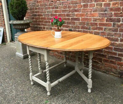 Antique 1920s Country Grey Painted Solid Oak Extending Kitchen Table.