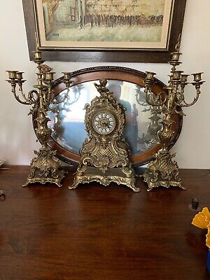 3 Piece imperial  brass mantel clock and Candle Holder Set