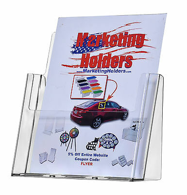 """Catalog Booklet Display Stand Brochure Holder Holds 8.5"""" x 11"""" Flyers Qty 24"""