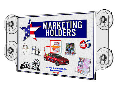 "Window Sign Holder 11""w x 8.5""h Ad Display Frame with Four Suction Cups"