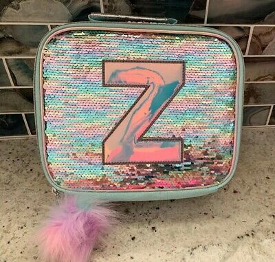 """Nwt Justice Pastel Unicorn Flip Sequin Initial """"Z""""Lunch Tote"""