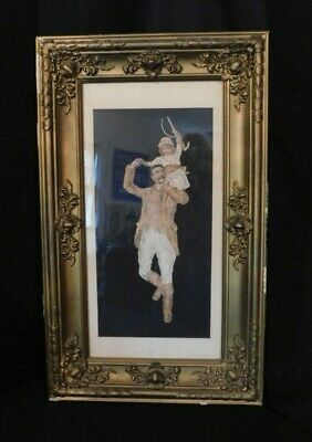E.Merrill Concord, NH Folk Art, Cut, Pierced, Birch Bark, Victorian Painting OLD
