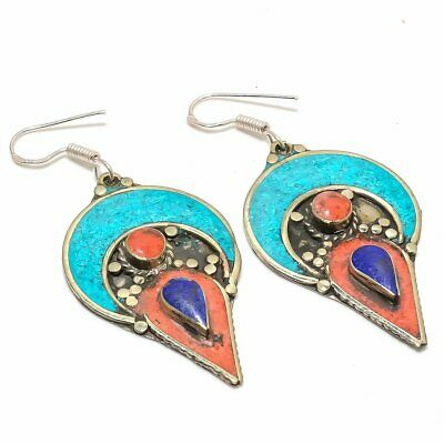 Tibetan Lapis, Coral,Turquoise 925 Sterling Silver Earring 7668