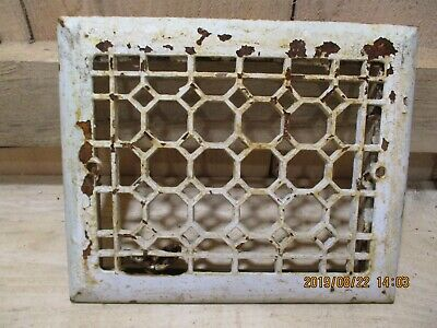 Antique Victorian Cast Iron Register Grate, White, Honeycomb Pattern, Beveled