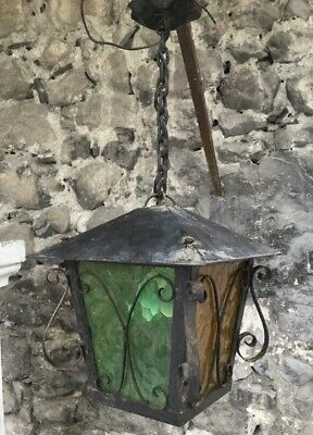 Vintage French Wrought Iron Ceiling Light Fixture Lamp Stain-glass Black Pendant