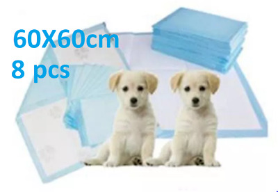 8 X DOG PUPPY PAD TOILET WEE ABSORBENT LARGE TRAINING TRAINER PADS 60 X 60cm
