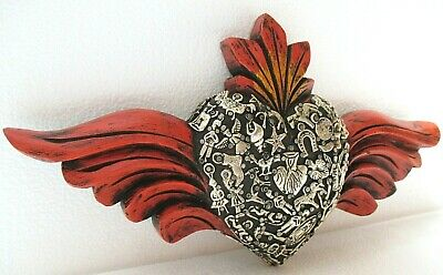 """Mexican Folk Art Wood Winged Flame Heart w/ 40 Milagro Charms Wall Hanging 12"""""""