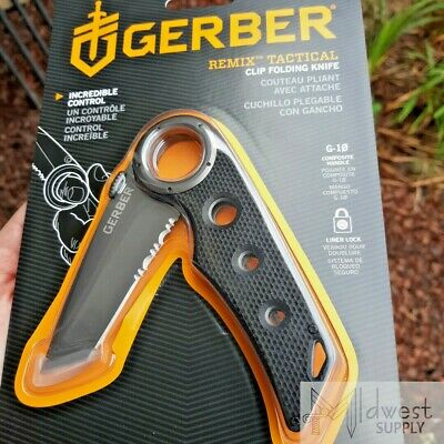 "Gerber Remix Tactical Folding Knife 3"" Part Serrated Tanto Blade, G-10 Handle"