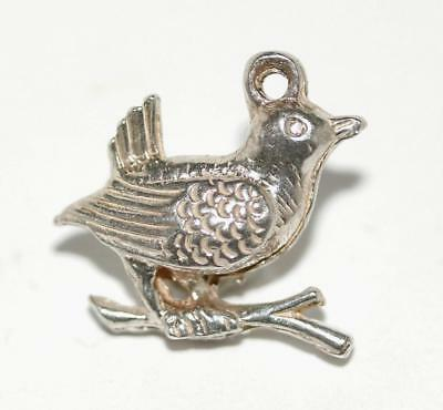 Bird On A Branch Sterling Silver Vintage Bracelet Charm With Gift Box 2.8g