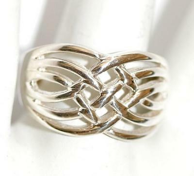 Ladies Sterling Silver Celtic Weave Wide Band Ring Size 8