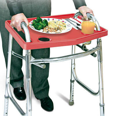Universal Walker Tray Accessory Dinner Carry Transport Standard Cup Holders RED