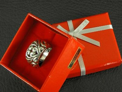 Vintage Solid 925 Sterling Silver Ring Open Work Ornate Bali Chunky Wide Band 6