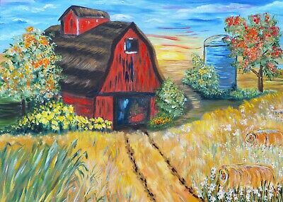 Red Barn ACEO art print from painting, autumn fall farmland 2.5x3.5 mini artwork