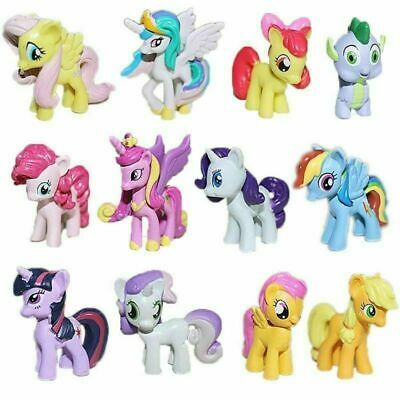New My Little Pony Figures Toys Mini Unicorn Fluttershy Rainbow 12PC Bundle Set