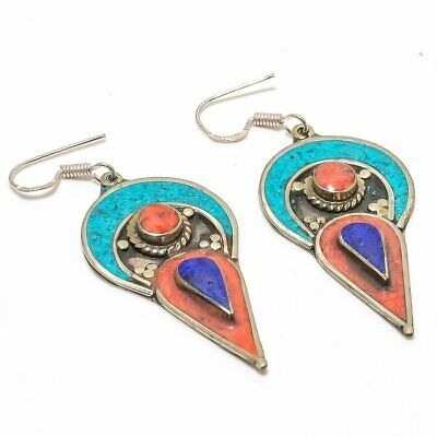 Exquisite Tibetan Lapis, Coral, Turquoise 925 Sterling Silver Earring 7520