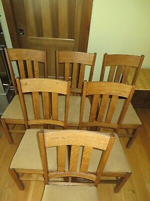 6 Antique Oak Arts & Crafts Chairs Refinished, Tight 5 Have Original Seat Frames