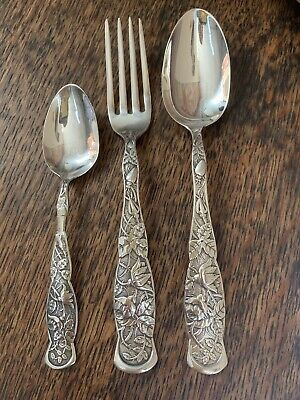 SET 3 BUG ROSE Pattern Knowles Fork Spoon Table Serving Sterling Silver imperfec