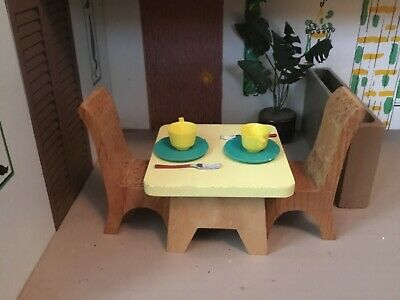 Dollhouse Toy Furniture-Wood Table & Chairs-wVintage Plastic Cups, Plates, Forks