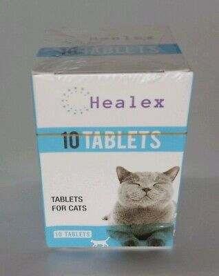 New Sealed Healex Cat Dewormer 10 Tablets for Cats w/Tapeworm & Roundworm 4/22
