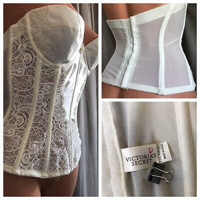 VTG Victoria's Secret Ivory Corset 34A Satin Lace Underwire Lightly Padded Cups