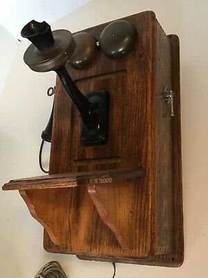 ANTIQUE OAK WALL PHONE WESTERN ELECTRIC Rotary Dial