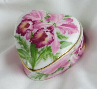 Vintage Bone China England Pink Magenta Orchid Heart-Shaped Trinket Box - Nice!