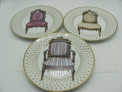 Fitz and Floyd Victorian Chair Plates Fine Porcelain Hand Painted Set of 3
