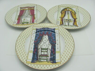 Fitz and Floyd Victorian Curtain Plates Fine Porcelain Hand Painted Set of 3