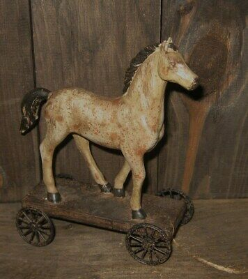 HORSE Pony PULL TOY Sculpture*Primitive/French Country Farmhouse Barn Decor*New!