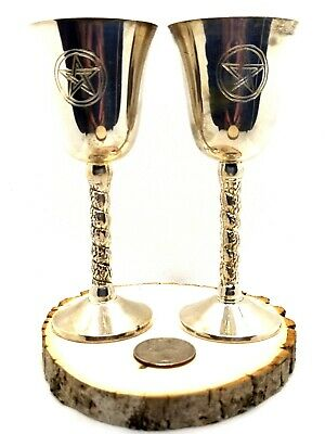Silver Plated Pentagram Wicca Pagan Ritual Chalice Goblet NEW