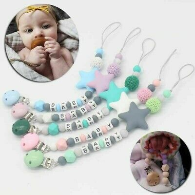 Pacifier Holder Nipples Infant Teething Silicone Five Star Pendant Beads Chain