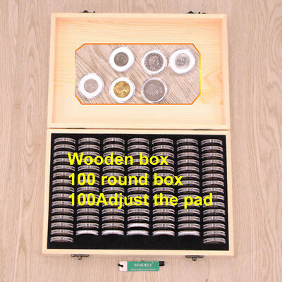 18/21/25/27/30mm Round Coins Holders Storage Container Display Cases Wooden Box