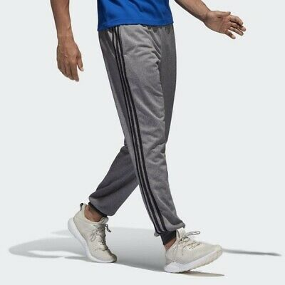 adidas Essentials 3-Stripes Tapered Cuffed Jogger Pants Gray Mens 2XL XXL B47221