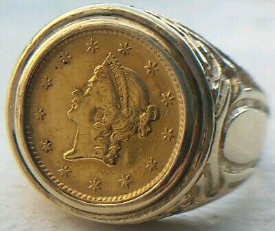 RARE ANTIQUE 1853 United States $1 Dollar .900 Gold Coin,14k Ornate Ring 7.75 Sz