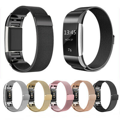 For Fitbit Charge 2 Strap Milanese Metal Band Stainless Steel Bracelet Magnetic
