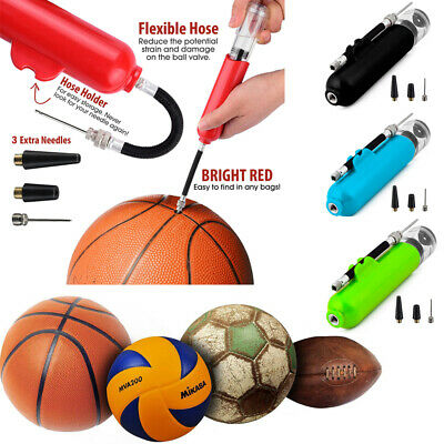Fast Inflating Hand Air Pump With Needle Adapter For Ball Football Sports UK