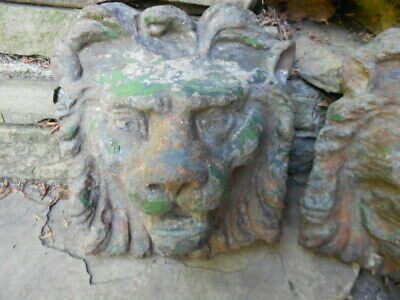 Large Pair Of Antique Cast Iron Lion Heads - English Late 1800'S Early 1900'S