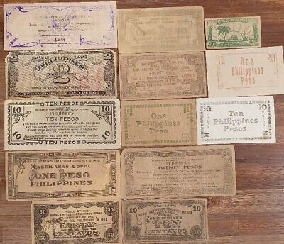 PHILLIPINES - Selection of 13 VERY OLD Bank Notes