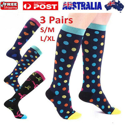 3 Pairs Compression Socks Anti Fatigue Travel Varicose Vein Flight Sleeve AU