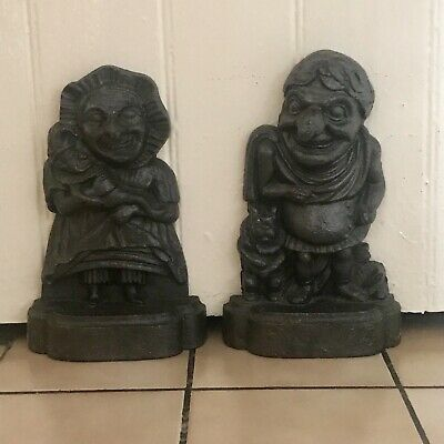 Vintage Cast Iron Punch & Judy Door Stops, Jams, Painted Black